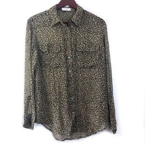 Equipment 100% Silk Animal Leopard Print Top